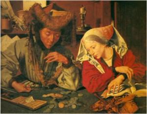denaro02_van-Reymerswaele_Il-cambiavalute-e-sua-moglie